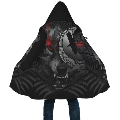 1stIceland Viking Angry Moon Wolf Poker Hooded Cloak TH12 - 1st Iceland