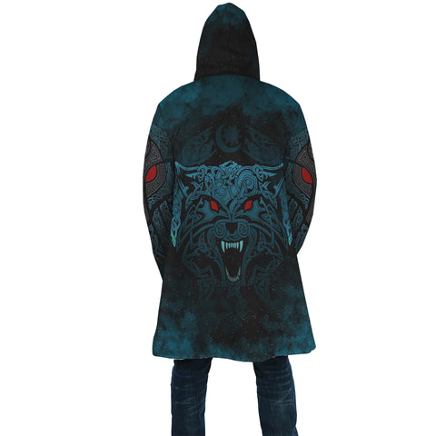 1stIceland Viking Hooded Cloak Moon Wolf Tattoo TH12 - 1st Iceland