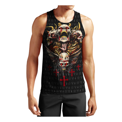 1stIceland Red Eyes Skull Men's Tank Top TH12 - 1st Iceland