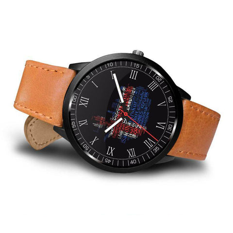 Image of 1stIceland Leather/Steel Watch, Cities Map A2 - 1st Iceland