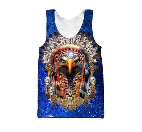 1st Iceland Eagle Native American Blue Galaxy Men's Tank Top