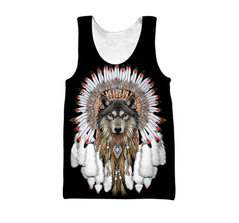1st Iceland Grey Wolf Native American Men's Tank Top TH12 - 1st Iceland