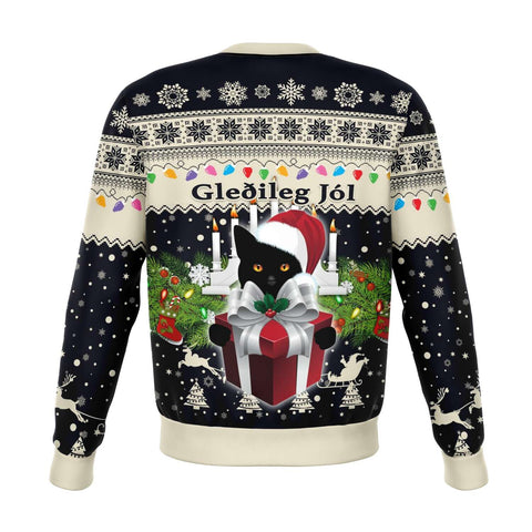 Image of 1stIceland Iceland Christmas Sweatshirt The Yule Cat Warm Vibes - Navy K8 - 1st Iceland