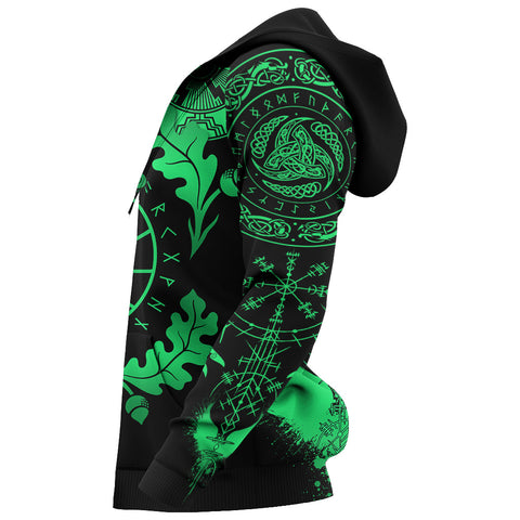 1stIceland Viking Oak Leaf Zip Hoodie Valknut Vegvisir With Irminsul - Green K8