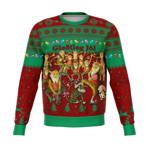 Image of 1stIceland Iceland Christmas Sweatshirt The Yule Lads Warm Vibes - Green Red K8 - 1st Iceland