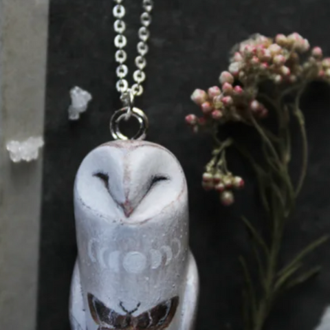 Barn Owl, Linnaea & Moth Necklace TH19 - 1st Iceland