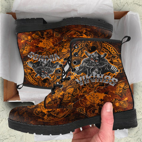 Image of 1stIceland Viking Leather Boots, Odin Norse Mythology Nn8 - 1st Iceland