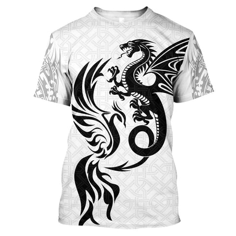 1sticeland White dragon and phoenix T-Shirt TH12 - 1st Iceland