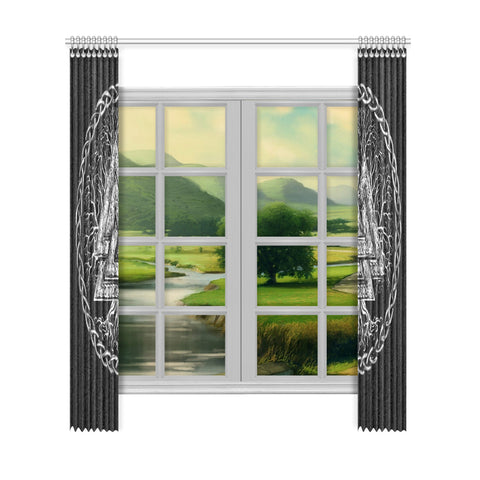Image of 1stIceland Viking Window Curtain, Valknut Symbol - 1st Iceland