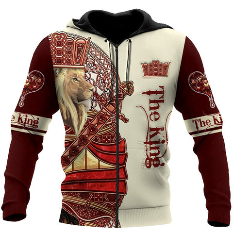 1sticeland King Lion Red Zip Hoodie