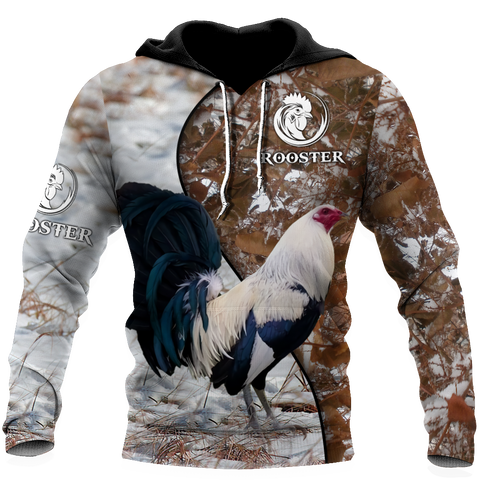 1stIceland Rooster 3D Printed Unisex Hoodie Brown TH12 - 1st Iceland