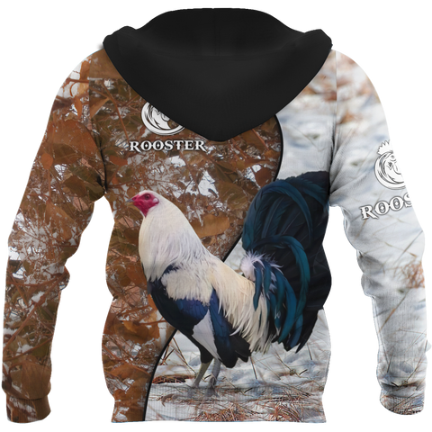 1stIceland Rooster 3D Printed Unisex Zip Hoodie Brown TH12 - 1st Iceland
