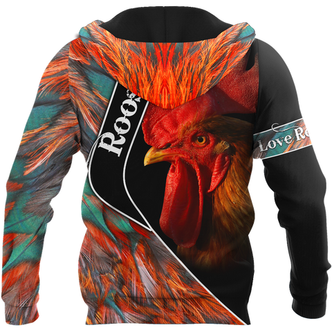 1stIceland Rooster 3D Printed Unisex Zip Hoodie Red Feathers TH12 - 1st Iceland