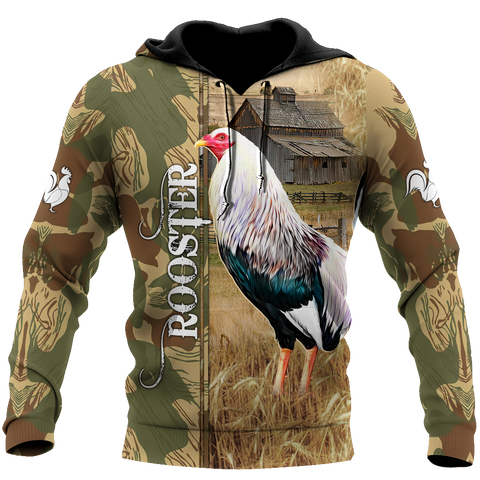 Image of 1stIceland Rooster 3D Printed Unisex Hoodie Village TH12 - 1st Iceland