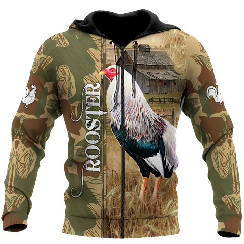 Image of 1stIceland Rooster 3D Printed Unisex Zip Hoodie Village TH12 - 1st Iceland