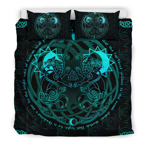 1stIceland Viking Bedding Set, Tree Of Life Fenrir Skoll And Hati Valknut Triskele K5 - 1st Iceland