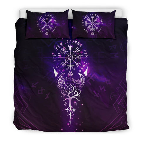 Image of 1stIceland Viking Bedding Set, Vegvisir Tree Of Life Valknut Rune A0 - 1st Iceland