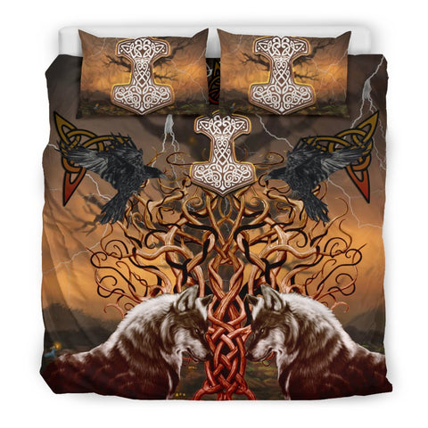 Image of 1stIceland Viking Bedding Set, Tree Of Life Mjolnir Fenrir Raven K4 - 1st Iceland