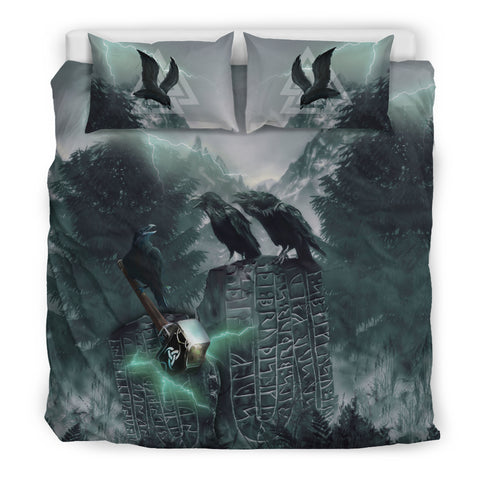1stIceland Viking Bedding Set, Raven Mjolnir Valknut Rune TH00 - 1st Iceland
