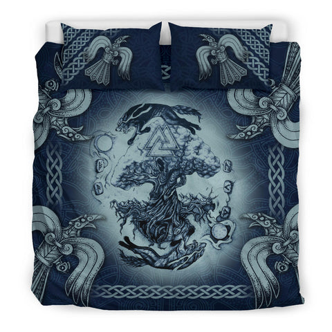 1stIceland Viking Bedding Set, Tree Of Life Fenrir Skoll And Hati Raven Valknut K7 - 1st Iceland