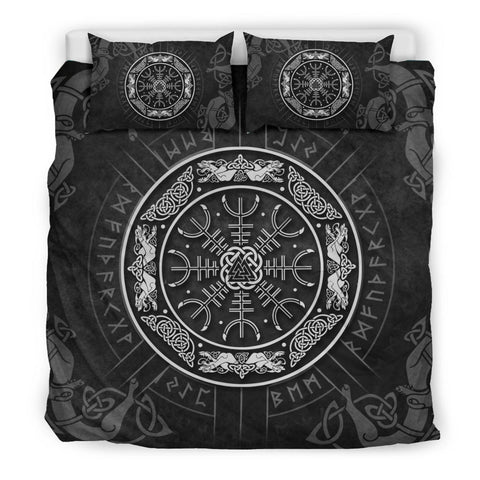 1stIceland Viking Bedding Set, Helm Of Awe Rune Circle Valknut K7 (Black) - 1st Iceland