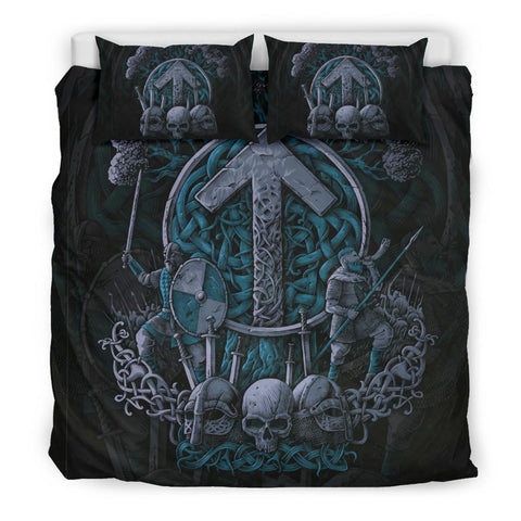 1stIceland Viking Bedding Set, Tyr Nordic Mythology Tree Of Life K7 (Cyan) - 1st Iceland