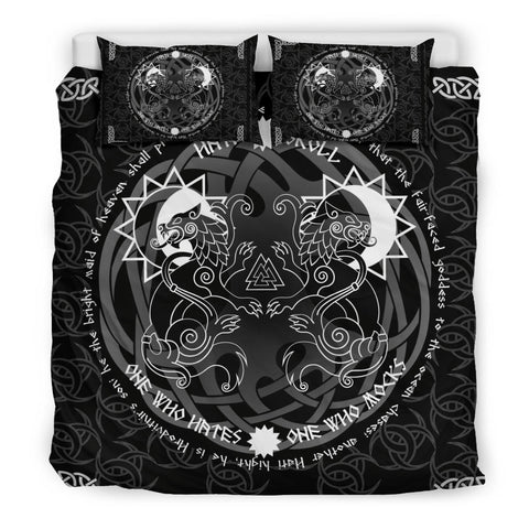 1stIceland Viking Bedding Set, Tree Of Life Fenrir Skoll And Hati Valknut Triskele K5 (Black) - 1st Iceland