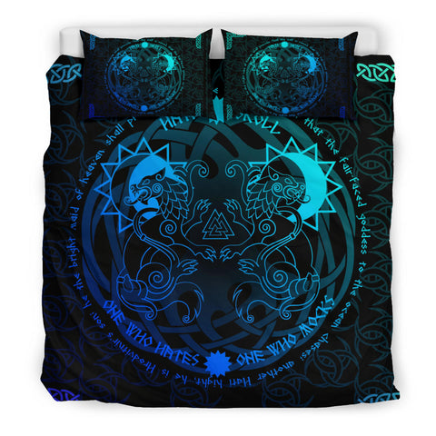 1stIceland Viking Bedding Set, Tree Of Life Fenrir Skoll And Hati Valknut Triskele K5 (Blue) - 1st Iceland