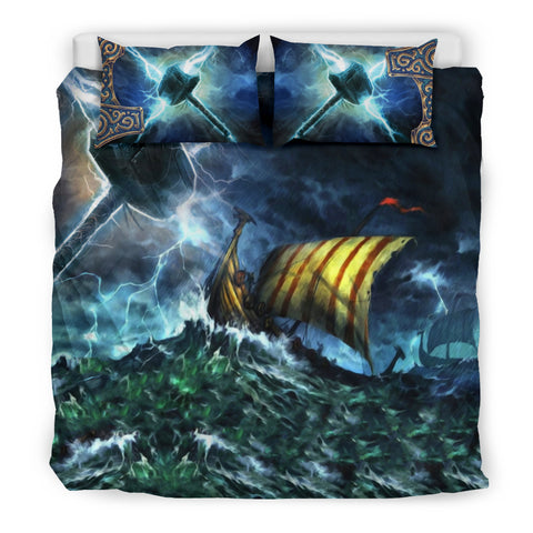 Image of 1stIceland Viking Bedding Set, Thor Mjolnir Drakkar K7 - 1st Iceland
