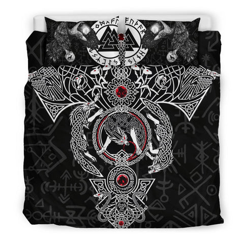 1stIceland Viking Bedding Set, Fenrir Skoll And Hati Valknut Raven TH00 - 1st Iceland
