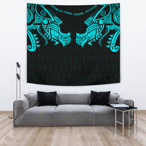 1stIceland Viking Tapestry, Fenrir Tattoo The Ragnarok - Blue K4 - 1st Iceland