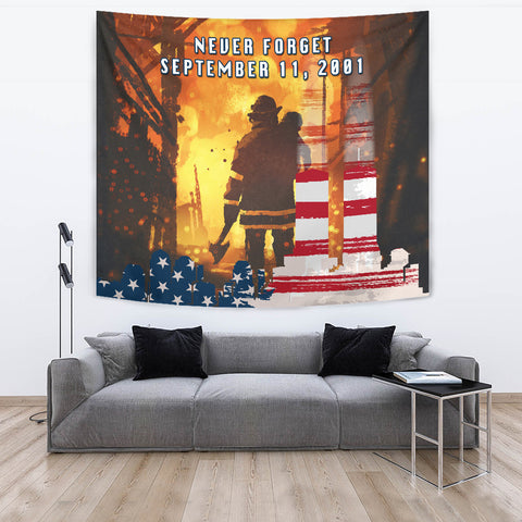 1stIceland American Firefighters Tapestry 9.11.01 Never Forget K8 - 1st Iceland