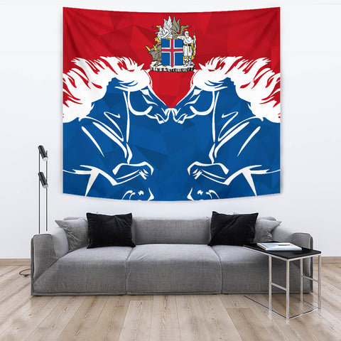 1stIceland Pullover Tapestry, Horse Coat Of Arms Couple Style K4 - 1st Iceland
