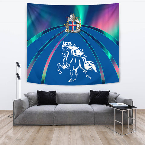 1stIceland Pullover Tapestry, Icelandic Horse Coat Of Arms Northern Lights K4 - 1st Iceland