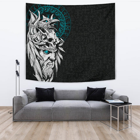 Image of 1stIceland Viking Odin And Raven Turquoise Tapestry TH12 - 1st Iceland