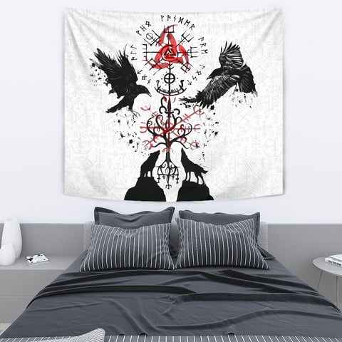 Image of 1stIceland Viking Tapestry, Vegvisir Hugin and Munin with Fenrir Yggdrasil K4 - 1st Iceland