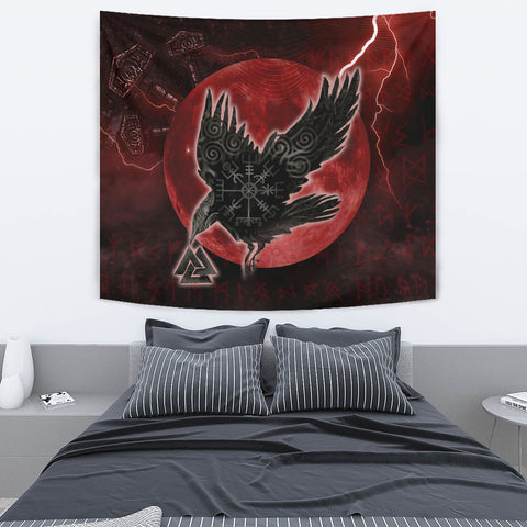 Image of 1stIceland Viking Tapestry, Raven Helm Of Awe Valknut Mjolnir Rune TH70 - 1st Iceland