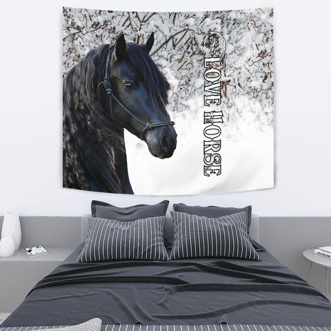 1stIceland Beautiful Friesian Horse Tapestry TH12 - 1st Iceland