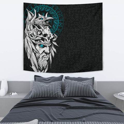 1stIceland Viking Odin And Raven Turquoise Tapestry TH12 - 1st Iceland
