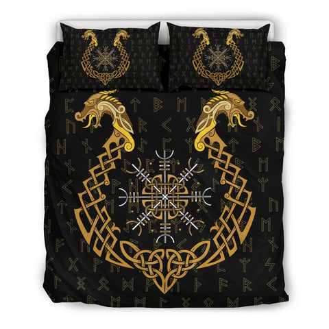 1stIceland Viking Bedding Set, Helm Of Terror Dragon Rune A1 - 1st Iceland