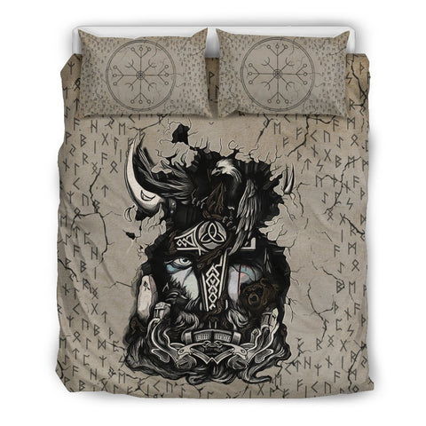 1stIceland Viking Bedding Set, Odin Raven Rune Helm Of Awe K5 - 1st Iceland