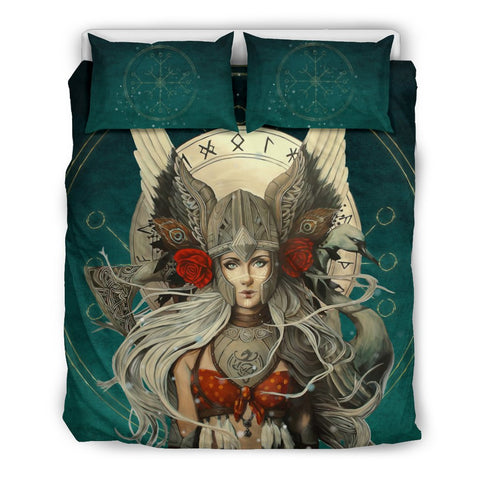 Image of 1stIceland Viking Bedding Set, Valkyrie Helm Of Awe Rune Circle K5 - 1st Iceland