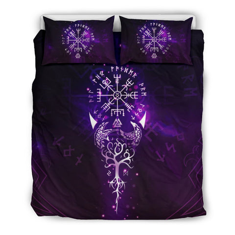 1stIceland Viking Bedding Set, Vegvisir Tree Of Life Valknut Rune A0 - 1st Iceland