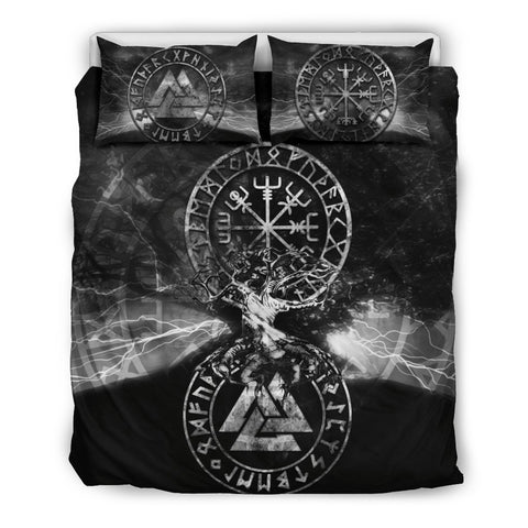 Image of 1stIceland Viking Bedding Set, Tree Of Life Valknut Helm Of Awe Rune Circle NN2 - 1st Iceland
