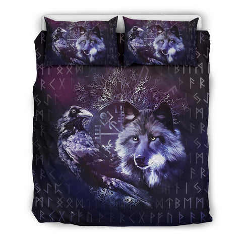 1stIceland Viking Bedding Set, Raven Fenrir Tree Of Life Helm Of Awe Rune TH2 - 1st Iceland