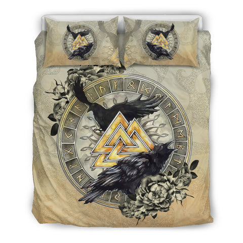 Image of 1stIceland Viking Bedding Set, Raven Valknut  Tree Of Life Rune Circle TH00 - 1st Iceland