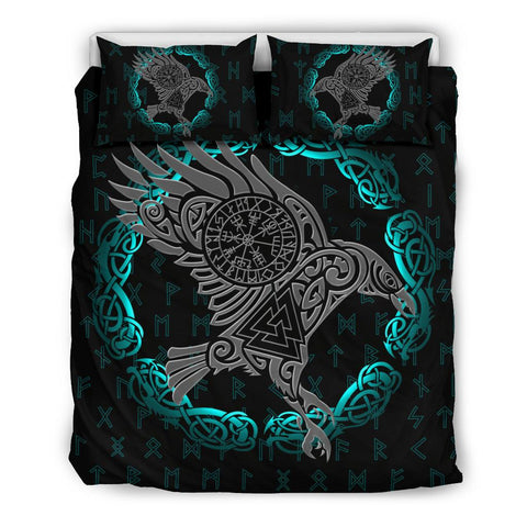 1stIceland Viking Bedding Set, Odin's Raven Helm Of Awe Valknut Rune A7 - 1st Iceland