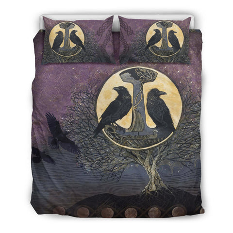 1stIceland Viking Bedding Set, Tree Of Life Odin's Raven Mjolnir K5 - 1st Iceland