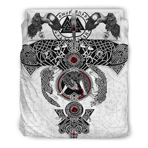 Image of 1stIceland Viking Bedding Set, Fenrir Skoll And Hati Valknut Raven K5 - 1st Iceland