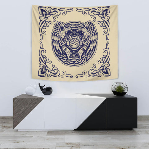 Image of 1stIceland Viking Tapestry, Valknut Huggin And Muninn Th00 - 1st Iceland